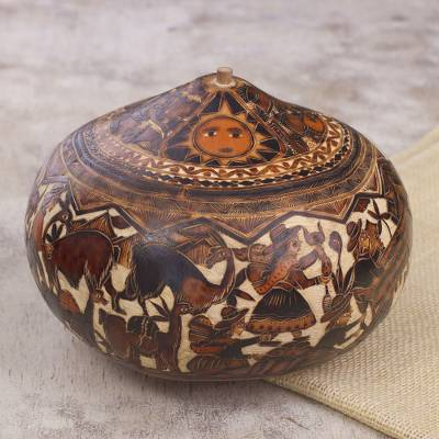 Dried mate gourd decorative box, 'Mantaro Valley' - Hand-Carved Gourd Decorative Box with Andean Pastoral Scene