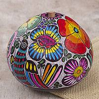 Gourd jewelry box, 'Dawn's Song' - Hand Carved and Painted Birds and Flowers Gourd Jewelry Box