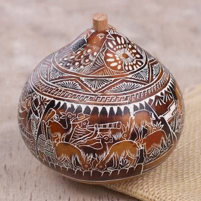 Dried mate gourd decorative box, 'Harvest Dance' - Hand Carved Gourd Decorative Box with Harvest Dance Scene