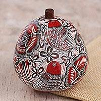 Gourd jewelry box, 'Redbird's Song' - Red Birds and Flowers Hand Carved Gourd Jewelry Box