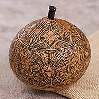 Gourd decorative box, 'Andean Trilogy' - Hand Carved Andean Trilogy Sun and Moon Gourd Decorative Box