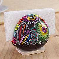 Gourd napkin holder, 'Bright Song' - Colorful Bird and Flowers Hand Painted Gourd Napkin Holder