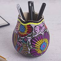 Gourd pen and pencil holder, 'Whistle While You Work' - Colorful Bird and Flowers Hand Painted Gourd Desk Accessory