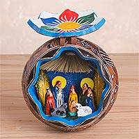 Gourd nativity scene, 'Huancayo Nativity' - Hand Carved and Painted Gourd Nativity Scene