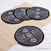Embroidered placemats, 'Flowering Colca in Sky Blue' (set of 4) - Floral Embroidered Peruvian Placemats in Sky Blue (Set of 4)