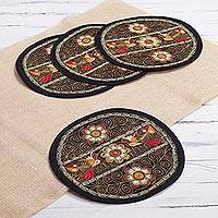 Embroidered placemats, 'Flowering Colca in Camel' (set of 4) - Floral Placemats in Camel (Set of 4) from Peru