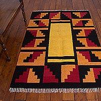 Wool area rug, 'Inca Harmony' (4x6) - Red, Orange, Black, Incan Inspired Hand Woven Area Rug (4x6)