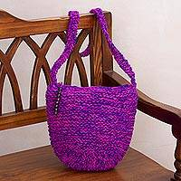 Jute sling bag, 'Marvelous Waves' - Fuchsia and Blue-Violet Knitted Jute Sling Handbag from Peru