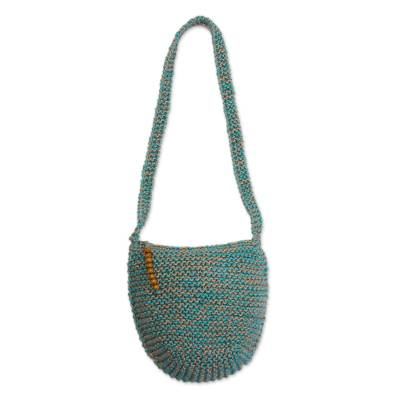 Cerulean and Buff Knitted Jute Sling Handbag from Peru