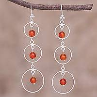 Carnelian dangle earrings, 'Sweet Effect' - Circle Motif Carnelian Dangle Earrings from Peru