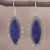 Sodalite drop earrings, 'Imperial Marquise' - Marquise Sodalite Drop Earrings from Peru