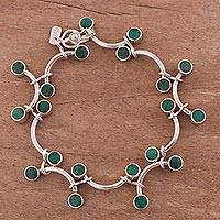 Chrysocolla link bracelet, 'Green Branches' - Chrysocolla and Sterling Silver Link Bracelet from Peru