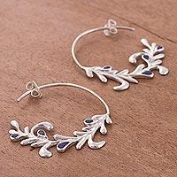 Lapis lazuli half-hoop earrings,