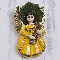 Plaster wall art, 'Angel Musician' - Handcrafted Peruvian Wall Sculpture of an Angel in Yellow