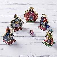 Plaster nativity scene, 'Christmas in San Blas' (6 pieces) - Handcrafted Petite Colonial Nativity Scene (6 Pieces) Peru