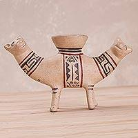 Ceramic sculpture, 'Recuay Animal' - Handcrafted Replica Animal-Themed Sculpture from Peru