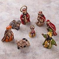 Ceramic nativity scene, 'Tradition of the Andes' (8 pieces) - Andean Handcrafted Ceramic Mini Nativity Scene (8 Pieces)