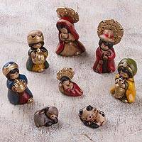 Ceramic nativity scene, 'A Children's Christmas' (8 pieces) - Handcrafted Ceramic Mini Nativity Scene (8 Pieces)