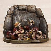 Ceramic figurine, 'Christmas at the Cornerstone' - Handcrafted Ceramic Nativity Scene Figurine in Inca Ruins