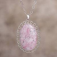 Rhodonite pendant necklace, 'Pink Queen' - Spiral Motif Rhodonite Pendant Necklace from Peru