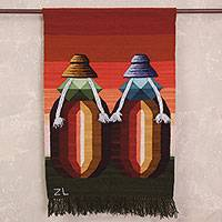 Wool tapestry, 'Colloquium in the Andes' - 100% Wool Tapestry of Two Andean Women with Bright Colors