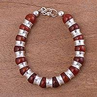 Agate beaded bracelet, 'Passion of Peru in Red' - Red Agate and Sterling Silver Beaded Bracelet from Peru