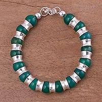 Agate beaded bracelet, 'Passion of Peru in Green' - Peruvian Green Agate and Sterling Silver Beaded Bracelet