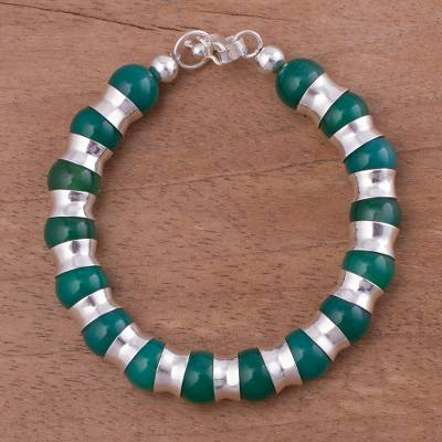 Agate beaded bracelet, Passion of Peru in Green