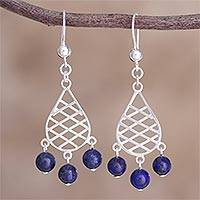 Lapis lazuli beaded dangle earrings, 'Garden Lattice in Blue' - Peruvian Lapis Lazuli and Sterling Silver Dangle Earrings