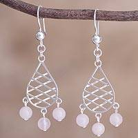 Rose quartz beaded dangle earrings, 'Garden Lattice in Rose' - Peruvian Rose Quartz and Sterling Silver Dangle Earrings