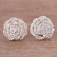 Sterling silver button earrings, 'Rope and Glory' - Peruvian Artisan Crafted Sterling Silver Button Earrings