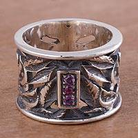 Rhodolite band ring, 'Lily Luxury' - Sterling Silver and Rhodolite Band Ring with Floral Motif