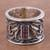Rhodolite band ring, 'Lily Luxury' - Sterling Silver and Rhodolite Band Ring with Floral Motif thumbail