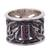 Rhodolite band ring, 'Lily Luxury' - Sterling Silver and Rhodolite Band Ring with Floral Motif (image 2a) thumbail