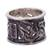 Rhodolite band ring, 'Lily Luxury' - Sterling Silver and Rhodolite Band Ring with Floral Motif (image 2c) thumbail