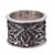 Rhodolite band ring, 'Lily Luxury' - Sterling Silver and Rhodolite Band Ring with Floral Motif (image 2d) thumbail