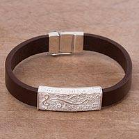 Leather and sterling silver wristband bracelet, 'Musical Delight' - Brown Leather and Sterling Silver Wristband Bracelet