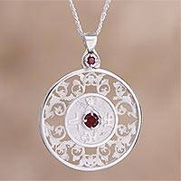 Garnet pendant necklace, 'Cultural Heritage' - Sterling Silver and Garnet Pendant Necklace from Peru