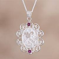 Rhodolite pendant necklace, 'Cultural Secret' - Rhodolite and Sterling Silver Pendant Necklace from Peru