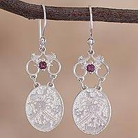 Rhodolite dangle earrings, 'Cultural Secret' - Rhodolite and Sterling Silver Dangle Earrings from Peru