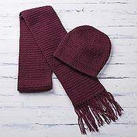 Alpaca blend hat and scarf, 'Royal Burgundy' - Crocheted Alpaca Blend Hat and Scarf in Burgundy from Peru