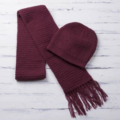 Alpaca blend hat and scarf, Royal Burgundy