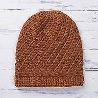 Alpaca blend hat, 'Sweet Spirals in Pumpkin' - Hand-Crocheted Alpaca Blend Hat in Pumpkin from Peru