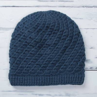 Alpaca blend hat, 'Sweet Spirals in Azure' - Hand-Crocheted Alpaca Blend Hat in Azure from Peru