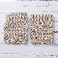 Alpaca blend leg warmers, 'Champagne Charm' - Crocheted Alpaca Blend Leg Warmers in Champagne from Peru