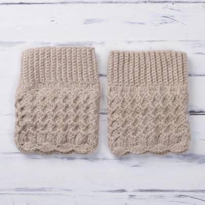 Alpaca blend boot cuffs, 'Champagne Charm' - Crocheted Alpaca Blend Boot Cuffs in Champagne from Peru