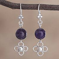 Amethyst dangle earrings, 'Floral Fortune' - Floral Amethyst and Silver Dangle Earrings from Peru