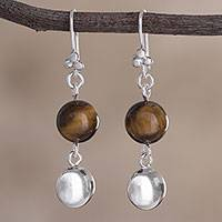 Tiger's eye dangle earrings, 'Earth Spheres' - Spherical Tiger's Eye Dangle Earrings from Peru