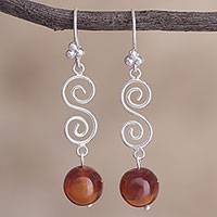 Carnelian dangle earrings, 'Lucky Spirals' - Spiral Motif Carnelian Dangle Earrings from Peru