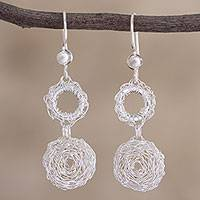 Sterling silver dangle earrings, 'Lunar Dream' - Sterling Silver Twisted Wire Dangle Earrings from Peru